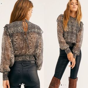 Free People Roma Animal-Print Blouse